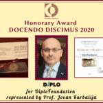 Bulgarian Diplomatic Institute's award to DiploFoundation
