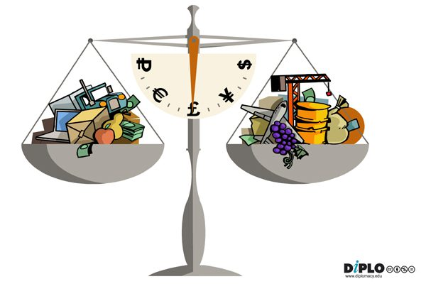 The balance, filled with 'goods', is representative of the goods and services forming part of an economy