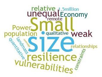 A word cloud showing terms associated with diplomacy of small states