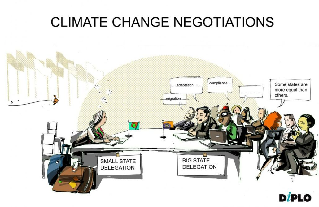 Taking climate change negotiations as an example, small state delegations are often a one-man-band, compared to larger big-state delegations