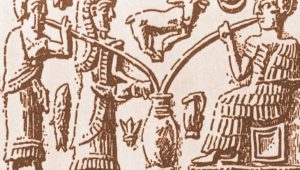 An old sumerian drawing of three persons drinking beer from a big pit with very long straws