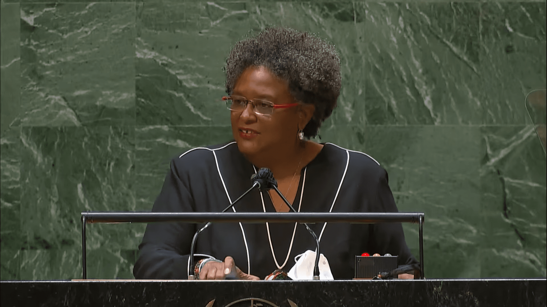 Prime Minister of Barbados, Mia Amor Mottley, addresses the general debate of the 76th General Assembly on Friday, 24 September 2021