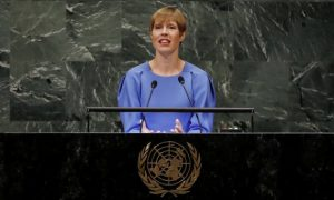 President Kersti Kaljulaid of Estonia addresses the general debate of the UN General Assembly's 76th session. Estonia is the country that has made the most references to digital policy at UNGA76 so far