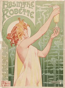 Poster for Absinth, 1896, lady holding a glass
