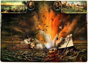 Newspaper Depiction Of The USS Maine Exploding In Havana Harbor, 1898