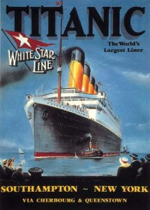 Poster for the Titanic cruiser ship in harbour, people waving, 1912
