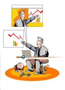 Illustration of a man doing an online presentation while his child plays under the table